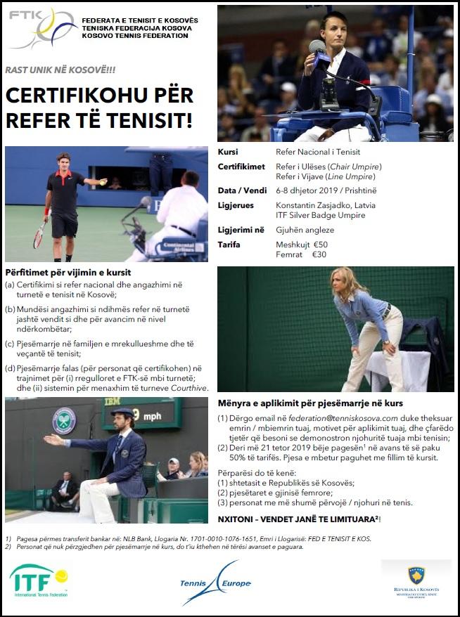 Të premten fillon Kursi Certifikues për Refer Nacional të Tenisit
