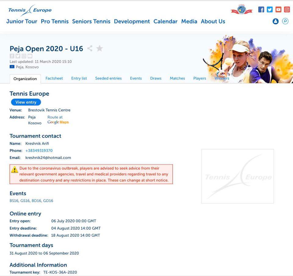 "Konfirmohet turneu ""Peja Open 2020 – U16"""