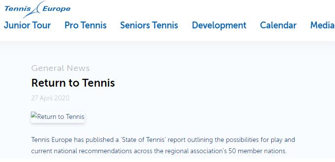 """Tennis Europe ka botuar raportin """"Kthimi ne Tenis"""""""